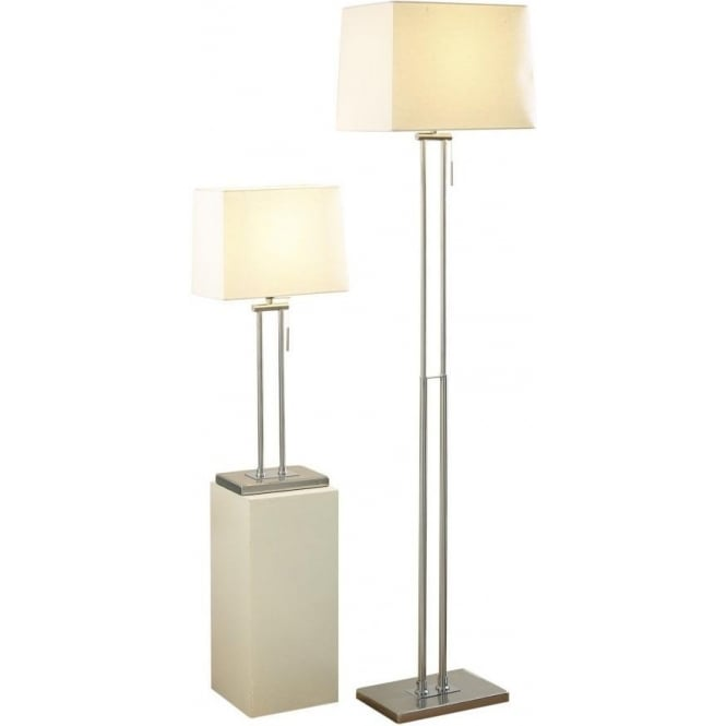 Dar Lighting Picasso Single Light Table & Floor Lamp Twin Pack In Satin Chrome Finish With Cream Shade