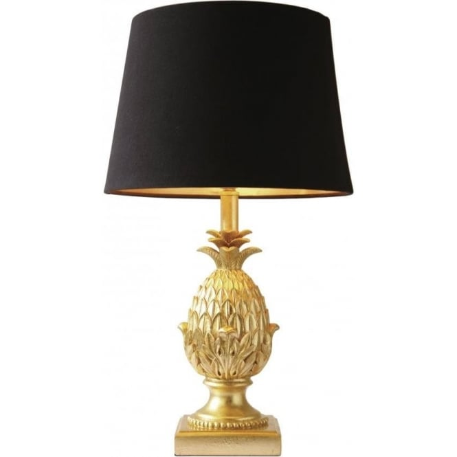 Pineapple Single Light Table Lamp In Gold Finish With Black Shade