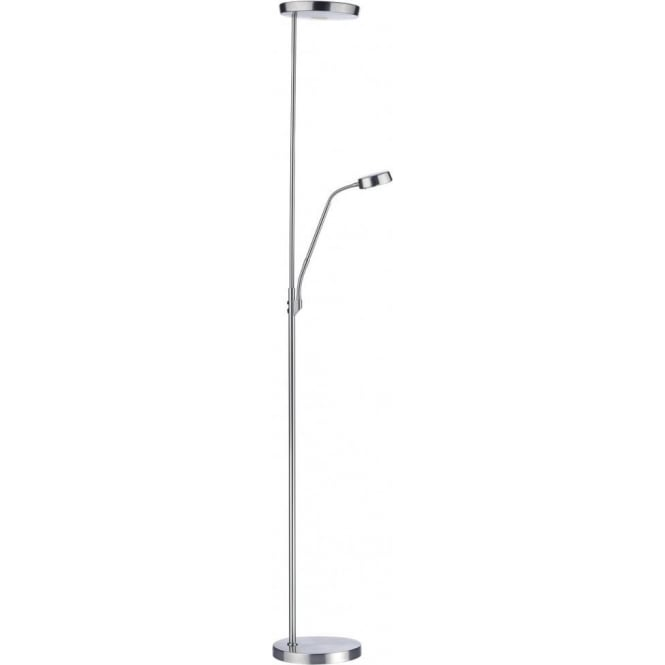 Dar Lighting Pioneer Mother And Child LED Floor Lamp In Satin Chrome ...