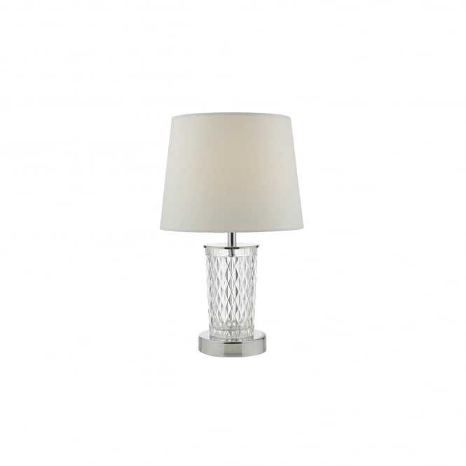 Dar Lighting Pixie Single Light Touch Table Lamp in Polished Chrome And Clear Glass Finish