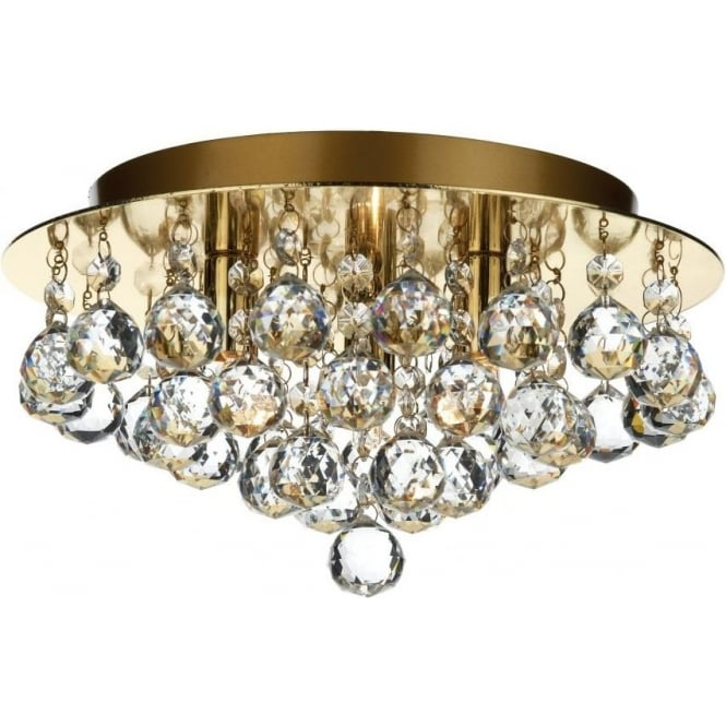 Dar Lighting Pluto 3 Light Semi-Flush Polished Brass Ceiling Fixture with Crystal Detail