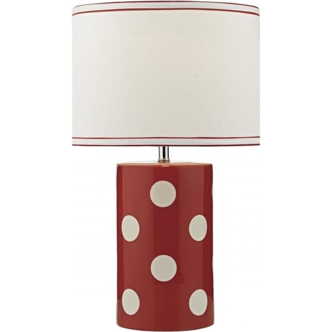 Dar Lighting Pompom Single Light Table Lamp in Red and White Ceramic Finish with White Linen Shade