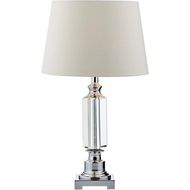 Dar Lighting Puerto Single Light Table Lamp In Crystal Glass And Polished Chrome Finish And Ivory Faux Silk Shade