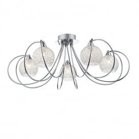 Rafferty 5 Light Semi Flush Ceiling Pendant In Polished Chrome Finish