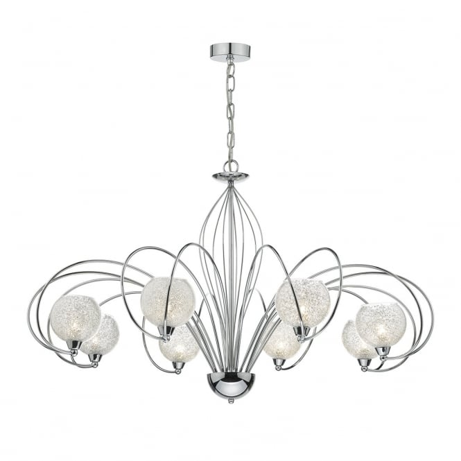 Dar Lighting Rafferty 8 Light Dual Mount Ceiling Pendant In Polished Chrome Finish