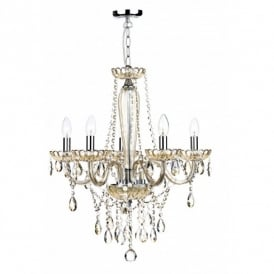 RAP0506 Raphael 5 Light Chandelier with Champagne Glass Frame