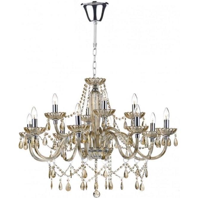 Dar lighting raphael large 12 light chandelier with champagne raphael large 12 light chandelier with champagne coloured glass aloadofball Image collections