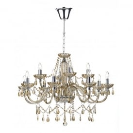 Raphael Large 12 Light Chandelier with Champagne Coloured Glass