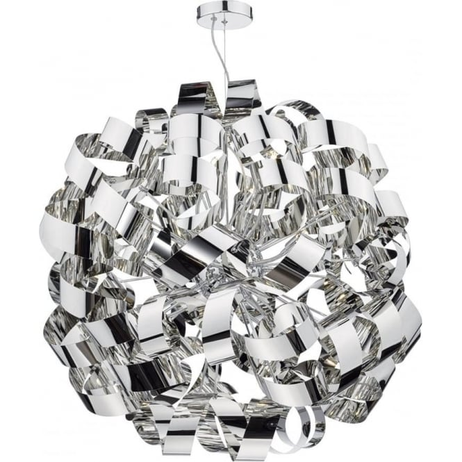 Dar Lighting Rawley 12 Light Ceiling Pendant in Polished Chrome Metal Ribbons
