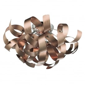 Rawley 4 Light Flush Ceiling Fitting in a Brushed Satin Copper Finish