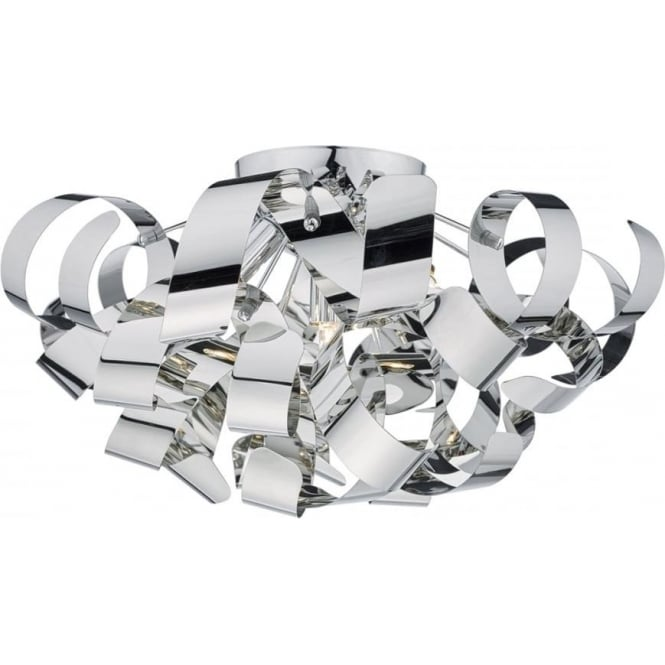 Dar Lighting Rawley 5 Light Semi Flush Ceiling Fitting in Polished Chrome Metal Ribbons