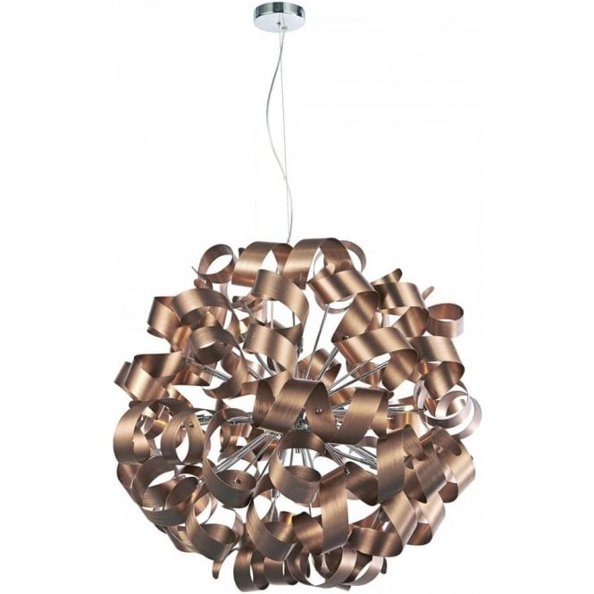 Dar Lighting Rawley Large 12 Light Ceiling Pendant in a Brushed Satin Copper Finish