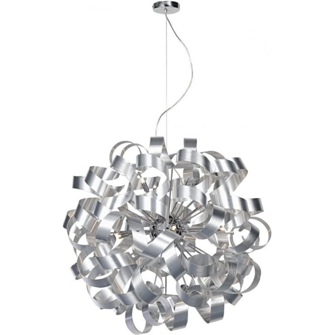 Dar Lighting Rawley Large 12 Light Ceiling Pendant with Brushed Metal Ribbons