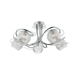 Rehan 5 Light Semi Flush Ceiling Fitting In Polished Chrome Finish