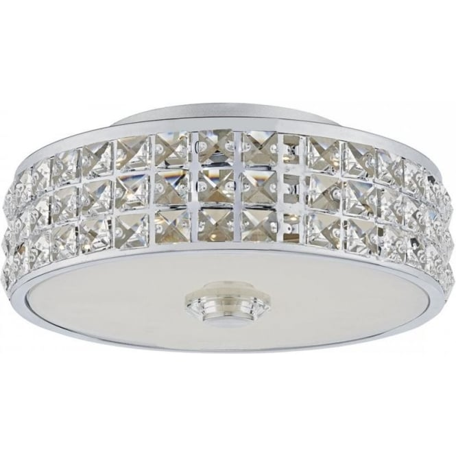 Dar Lighting Repton Single Light LED Flush Ceiling Fitting in Polished Chrome Finish With Crystal Glass Detail