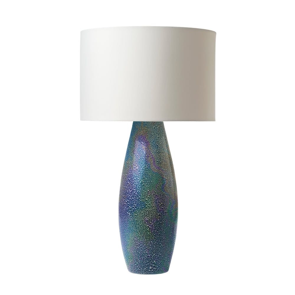 Rhys Single Light Ceramic Table Lamp Base Only In Blue Finish