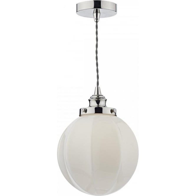 Dar Lighting Rib Single Light Ceiling Pendant In Polished Nickel Finish With Gloss White Opal Glass Shade