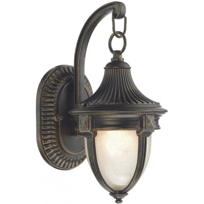 Dar Lighting Richmond Single Light Outdoor Wall Lantern in Black Gold Finish