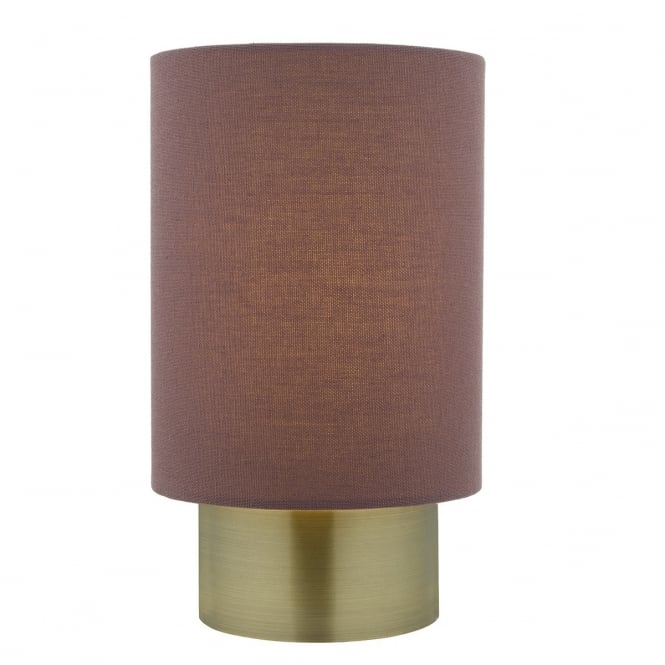 Dar Lighting Robyn Touch Lamp In Antique Brass Finish With Plum Linen Shade
