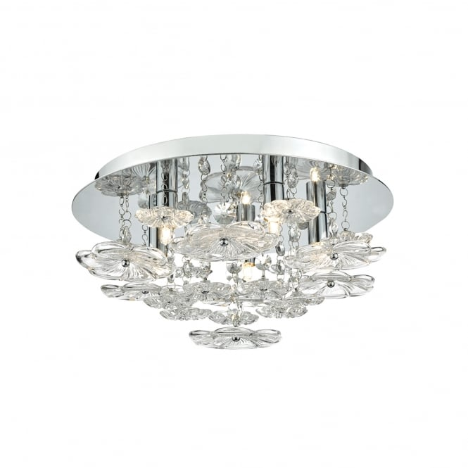 Dar Lighting Rochelle 5 Light Flush Ceiling Fitting In Polished Chrome And Clear Glass Finish