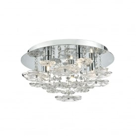 Rochelle 5 Light Flush Ceiling Fitting In Polished Chrome And Clear Glass Finish