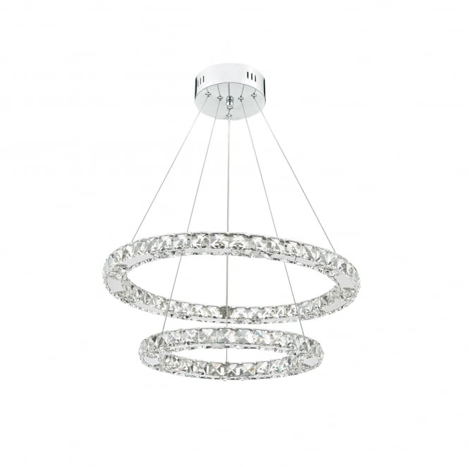 Dar Lighting Roma 2 Light LED Ceiling Pendant In Polished Chrome And Crystal Finish