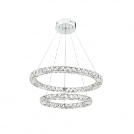 Roma 2 Light LED Ceiling Pendant In Polished Chrome And Crystal Finish