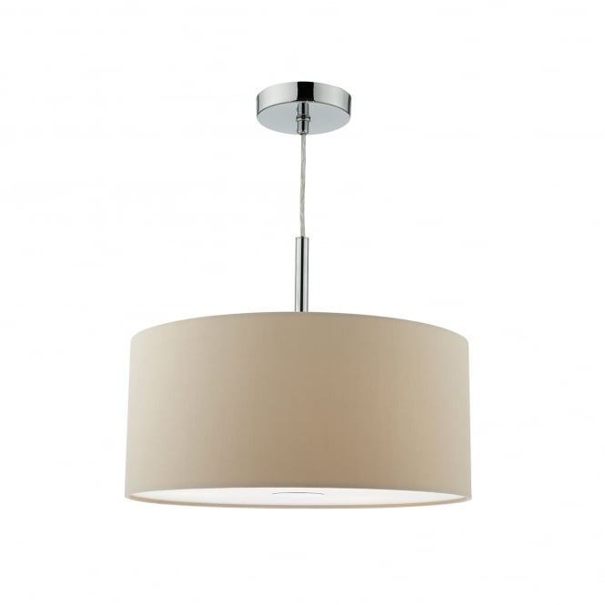 Dar Lighting Ronda 3 Light 40cm Ceiling Pendant In Taupe And Polished Chrome Finish