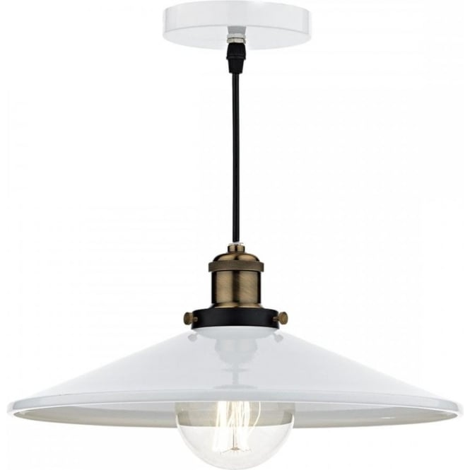 Dar Lighting Roof Single Light Ceiling Pendant In White Finish With Antique Brass Detail