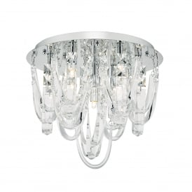 ROX5050 Roxanne 7 Light Flush Ceiling Fitting in Polished Chrome Finish with Crystals