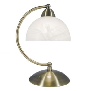 Dar lighting rochester single light touch table lamp in antique saxby single light touch table lamp in antique brass finish with alabaster glass shade mozeypictures Image collections