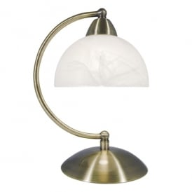 Saxby Single Light Touch Table Lamp in Antique Brass Finish with Alabaster Glass Shade