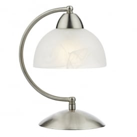 Saxby Single Light Touch Table Lamp in Satin Chrome Finish with Alabaster Glass Shade