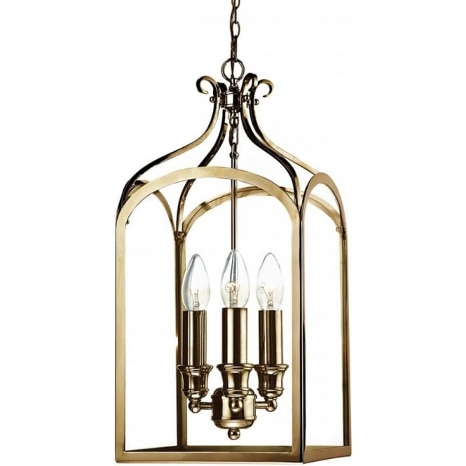 Dar Lighting Senator 3 Light Ceiling Pendant in Antique Brass Finish