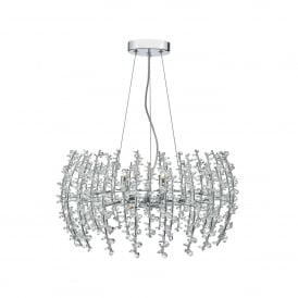 Sestina 6 Light Ceiling Pendant In Polished Chrome Finish with Crystal