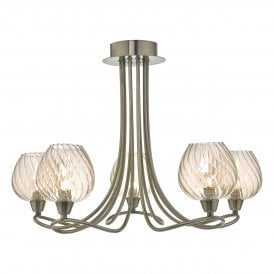 SIV5475 Sivyer 5 Light Semi Flush Ceiling Fitting In Antique Brass Finish With Champagne Glass Shades