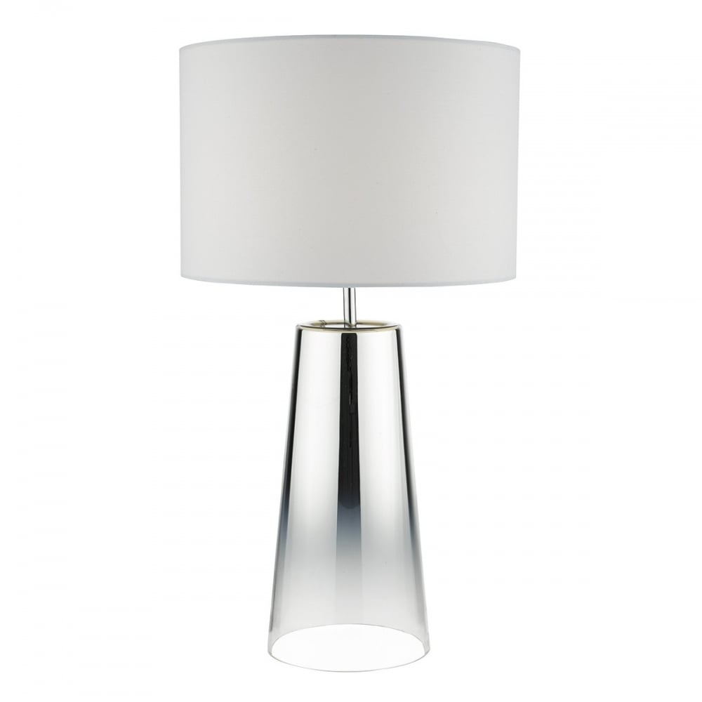 Smo4250 Smokey Single Light Table Lamp With Chromed Glass Base And White Cotton Shade