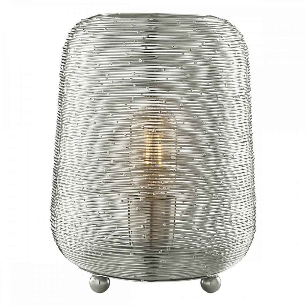 Dar Lighting Sosha Single Light Table Lamp With Wire Metal Shade In Wiring Uk Nickel Finish