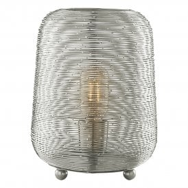 Sosha Single Light Table Lamp With Wire Metal Shade In Nickel Finish
