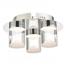Susa 3 Light Flush Bathroom Ceiling Fitting In Polished Chrome Finish
