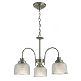 Tack 3 Light Ceiling Pendant in Antique Chrome Finish Complete with Textured Glass Shades