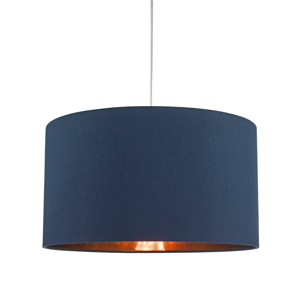 Tim6523 Timon Easy Fit Ceiling Pendant Shade In Navy Blue With Copper Gold Lining