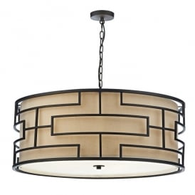 Tumola 6 Light Ceiling Pendant In Matt Bronze Finish With Taupe Linen Shade
