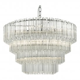 Tuvalu 9 Light Ceiling Pendant In Polished Chrome Finish With Clear Glass Decoration