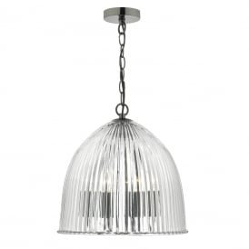 Usher 3 Light Ceiling Pendant In Antique Silver Finish With Glass Ribbed Shade
