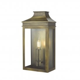 Vapour Single Light Outdoor Wall Light in Brass Finish