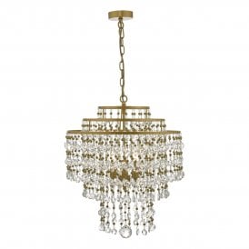 VAY0308 Vayla 3 Light Ceiling Pendant In Bronze Finish With Clear Crystal Beads