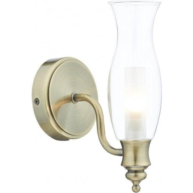 online store 8a486 58744 Dar Lighting VES0775 Vestry Single Light Antique Brass Bathroom Wall Fixture