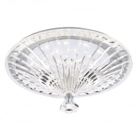 Vincent Single Light LED Flush Ceiling Fitting In Polished Chrome And Crystal Glass Finish