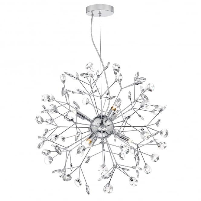 dar lighting vivien 6 light ceiling pendant in polished